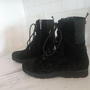 Black Velvet combat boots